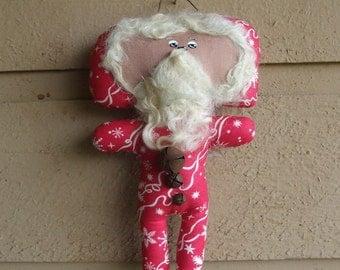 Santa Primitive Cloth Doll Christmas Ornie