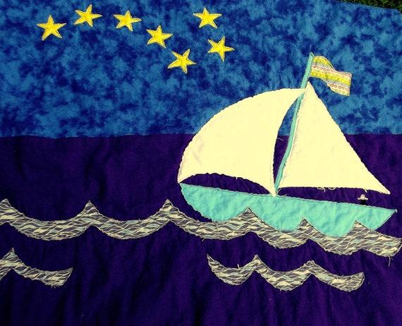 folk quilt, applique quilt, sailboat quilt, whimsical quilt
