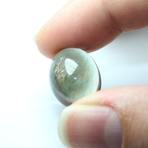 Oregon Sunstone Oval Cabochon 20 mm, Blue Green Bronze Schiller Ponderosa Semi Precious Gemstone
