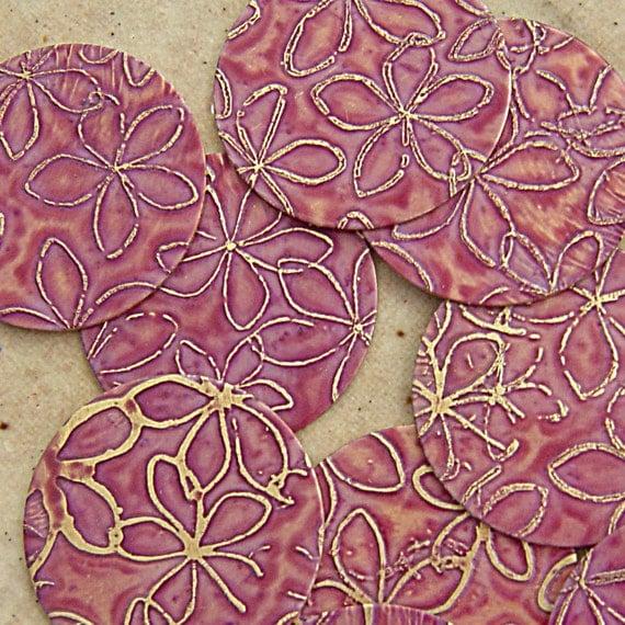 Etched Brass Round Disks, Dusty Rose Plumeria, 20mm, 1 Pair