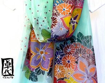 Silk Scarf Hand Painted, ETSY, Mint Green Silk Shawl, Floral Scarf, Silver Floral bouquet Kimono Scarf, Silk Chiffon Scarf, 22x90 inches.