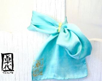 Blue Silk Scarf. Scarf Ring. Hand Dyed Silk. Mint Blue MIYABI Silk Scarf. Silk Scarves Takuyo. Made in USA. 6x24 in.