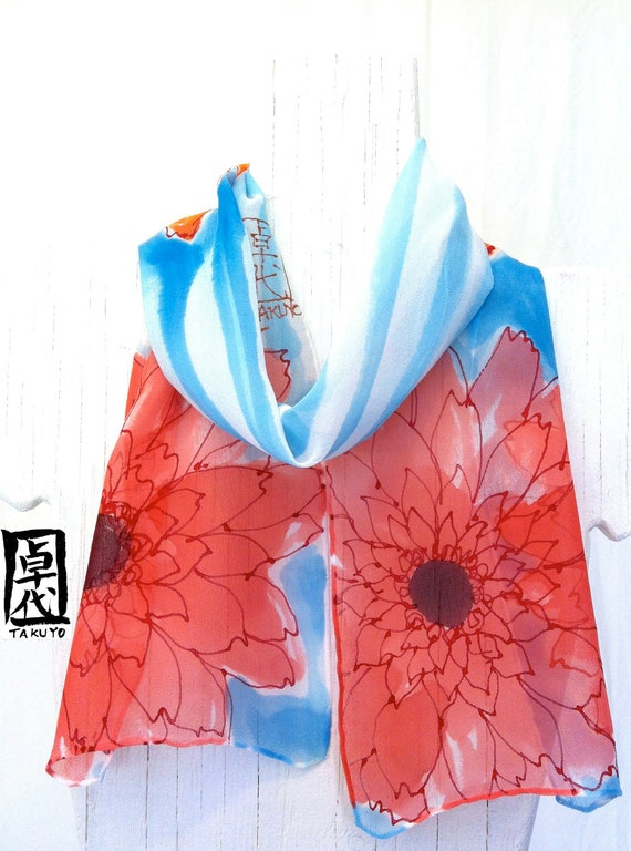 Silk Scarf Hand Painted Anime Garbera Daisies Scarf I. Handmade Silk Scarf. Silk Scarves Takuyo. Silk Chiffon. Silk Dye. 7.5x50 in.