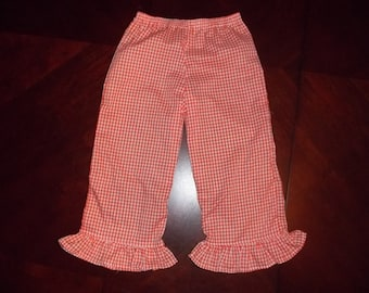 """Girl's Toddler 1/8"""" Gingham Check Pants with Ruffled Hem - Toddler Sizes 12 months to 5T"""