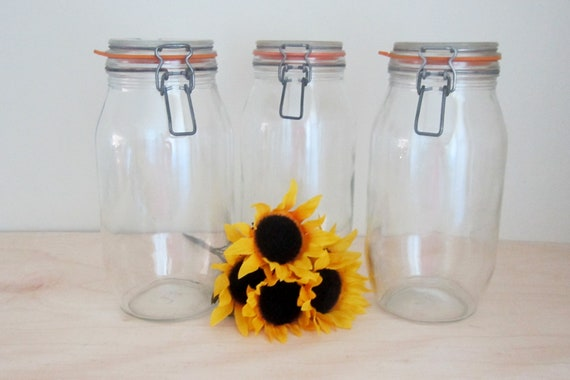 Reserved for Donna - Canning Jars - Niveau De Remplissage France Sealed Canning Jars - Set of 3 French Country Farmhouse