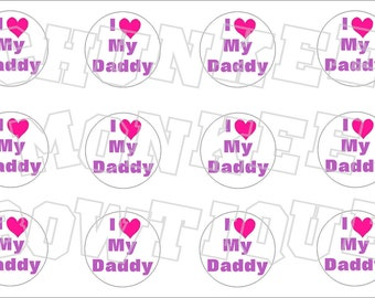 I Love My Daddy bottlecap image sheet pink and purple