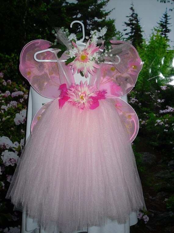 Tutu Fairy costume dress size  small 2to4 Ready to Ship  Feathers Halloween pixie costume headband and wings included