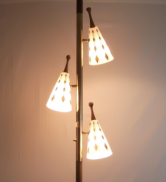Vintage Tension Pole Lamp Eames Era Gold Cone Globes Floor To