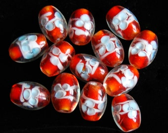 13 Pieces of Oval Drilled Tangerine and Light Blue Lampwork Beads, 10x13mm