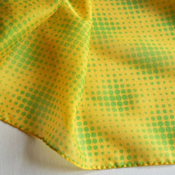 SALE Large Translucent Yellow and Green Dotted Op Art 1970s Scarf