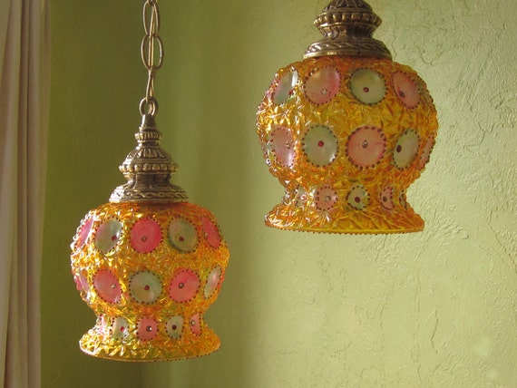 Hanging Gypsy Lamp Pair, Pressed Glass