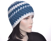Handmade Beanie Hat Sapphire Blue White Striped Crochet Chunky Womens Hat Men