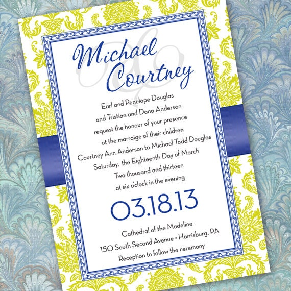 wedding invitation, cobalt wedding invitation, lime wedding invitation, cobalt graduation invitation, lime retirement party, IN163