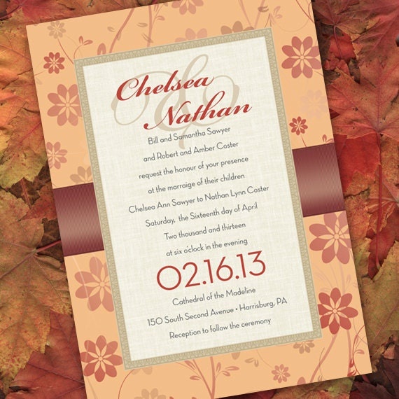 wedding invitations, bridal shower invitations, rehearsal dinner invitations, brown and peach bridal shower invitations, fall party invites