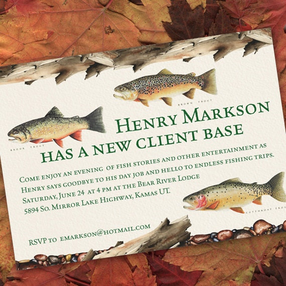 retirement party invitations, fishing retirement party, fresh water fishing party invitations, fly fishing birthday party invitations, IN144