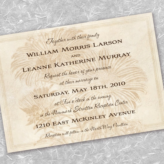 wedding invitations, ivory wedding, sunflower bridal shower invitations, cream wedding, cream bridal shower invitation, tan retirement party