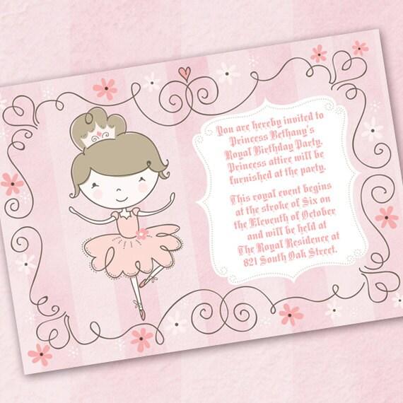 ballerina birthday party, princess birthday party, pinkalicious birthday invitation, pink ballerina invitation, ballet recital
