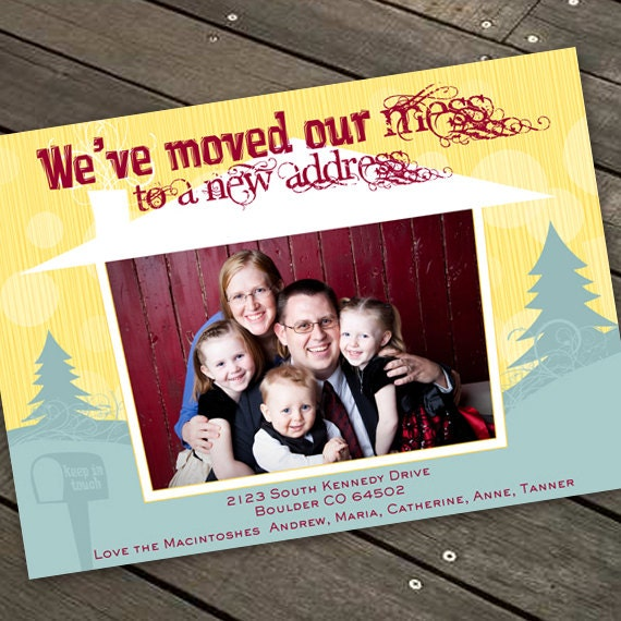 new home announcement, new address, moving announcement, house warming invitation, we've moved card, we are moving announcement