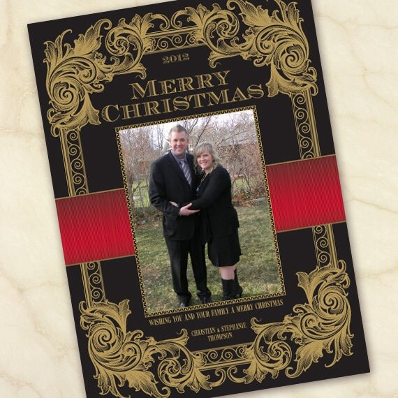 Christmas cards, black and gold Christmas, gold scrolls Christmas card, elegant black and red Christmas card, photo Christmas card, CC057