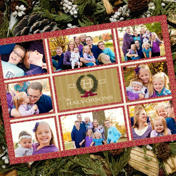 Christmas cards, red damask Christmas card, red and gold card, monogram Christmas card, 8 photo Christmas card, family Christmas card, CC047