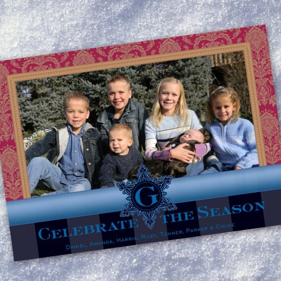 Christmas cards, red and gold damask Christmas card, monogram Christmas card, blue Christmas card, snowflake photo Christmas card, CC060