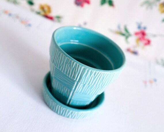 McCoy Aqua Basket Weave Flower Pot, Vintage