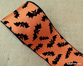 "CLEARANCE! Halloween Wired Ribbon, 4""  Flocked, Glittered Black Bats on Orange - TEN Yard Roll - d. stevens ""Bats"" Craft Wire Edged Ribbon"