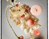 Handmade Vintage Button and Crochet Flower Tiara, Blush Natural Linen Vanilla