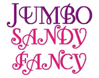 "JUMBO Sandy Fancy Machine Embroidery Font - Sizes 5"",6"",7"" - BUY 2 get 1 FREE"