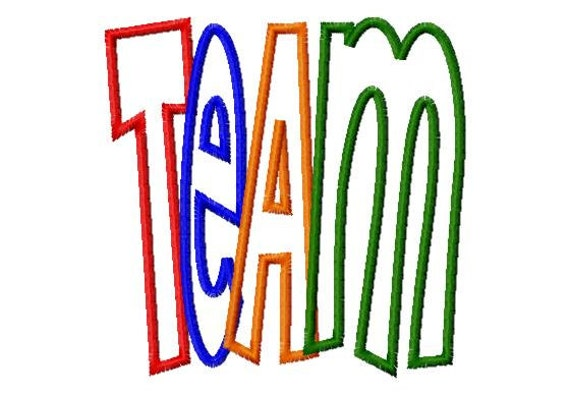 TEAM - Applique - Machine Embroidery Design - 9 sizes