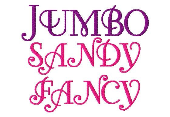 JUMBO Sandy Fancy Machine Embroidery Font Sizes