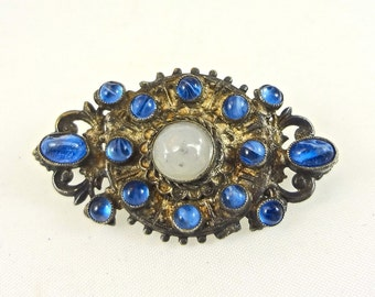 Antique Cobalt Glass Brooch Pendant Jewelry Finding Marbled Blue Glass Cabochons on Gunmetal