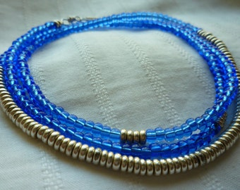 Sapphire Blue Seed Bead & Silver Necklace - Blue and Silver Long Seed Bead Necklace