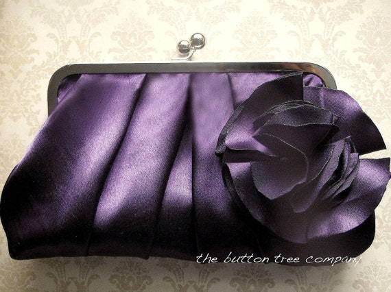 Purple Bridal and Bridesmaid Clutch Purse with Purple Flower Adornment- Custom- Pleated