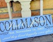 """Personalized Couple Sign, ...and they lived happily ever after sign 19""""x7.5"""" with flourish detail, makes a wonderful wedding gfit"""