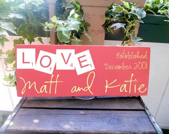 """Scrabble tile L O V E personalized adorable couple sign 7.5""""x19"""" includes established date, perfect gift for shower, wedding or birthday"""