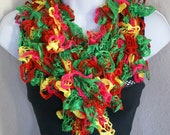 Ruffle lace soft scarf hand knit multicolored