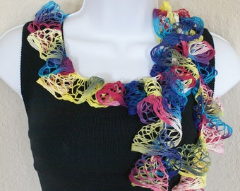 Ruffle scarf handmade  crochet lace and soft rainbowl multicolored  scarf or belt for spring and summer