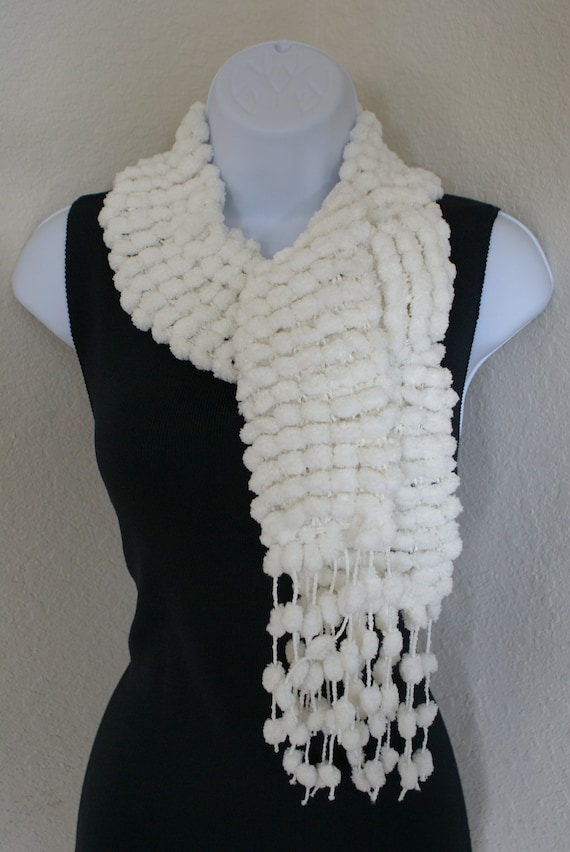Fall Winter very very soft scarf and hair ear band hand knit WHITE furry with pompom Shiny