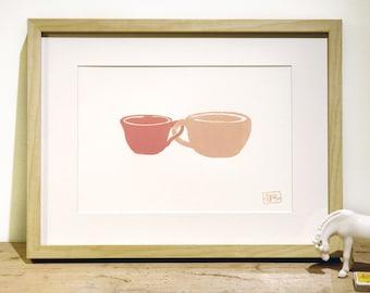ON SALE!!! ---> Cute Cuples (earth) Letterpress art print