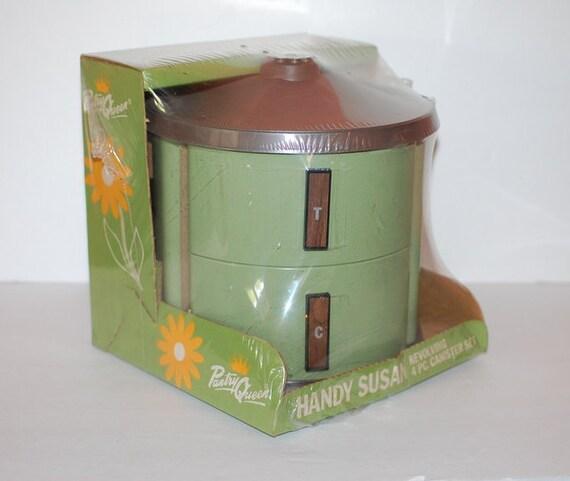Vintage 4 Piece Revolving Canister Set Handy Susan Mod Kitchen Mint In Box