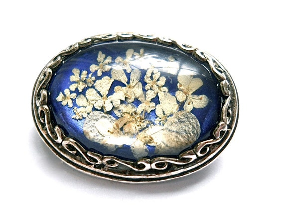 Vintage Sterling and Dried Flower Pin - 1950s