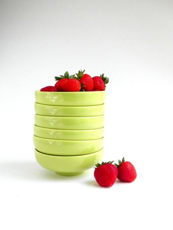 Vintage Ceramic Lime Green Bowls
