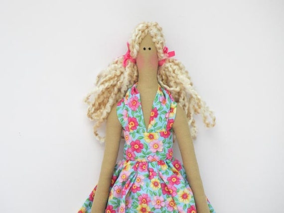 Handmade fabric doll pink flower dress ,child friendly doll-  cloth doll,stuffed art doll blonde.Collectible doll- gift for girl