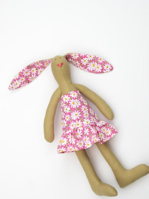 Stuffed bunny rabbit hare Easter bunny plush softie summer bunny in pink rabbit hare child freindly toy gift for girls.