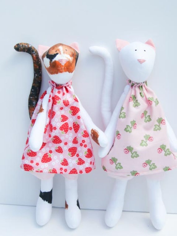 Custom order for Deana-Two cats -plush toy- cute kitten doll in pink dress- stuffed animal toy,softie cat handmade animal
