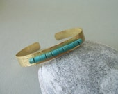Handmade hammered   brass cuff bracelet .Turquoise stones  .