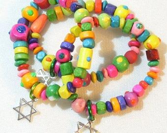 For Little Girls: Set of 3 Stretchy Bracelets - Fiesta Colors