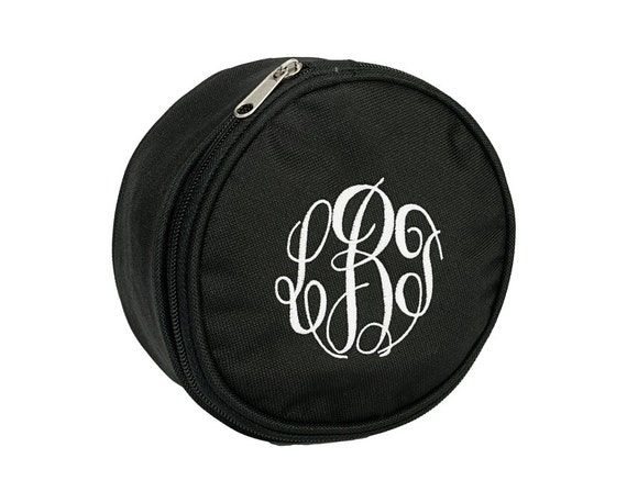 Custom Boutique Personalized Monogrammed Black Round Zippered Jewelry Pouch Makeup Case Bag