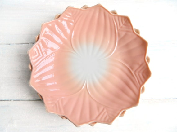 Vintage Fire King Peach Lotus Blossom Plate - Pink on White Milk Glass